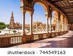 plaza de espana  in seville ... | Shutterstock . vector #744549163