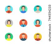 male and female faces avatars.... | Shutterstock .eps vector #744554233