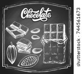 hand drawn chocolate bar and... | Shutterstock .eps vector #744561673