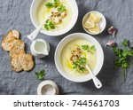 potato cauliflower soup puree... | Shutterstock . vector #744561703