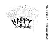 birthday greeting card template | Shutterstock .eps vector #744564787