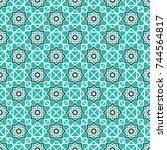 seamless texture with arabic... | Shutterstock .eps vector #744564817