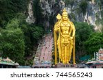 batu caves statue and entrance... | Shutterstock . vector #744565243