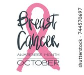 breast cancer awareness month   ... | Shutterstock . vector #744570697