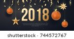 happy new year banner with... | Shutterstock .eps vector #744572767