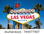 the welcome to fabulous las... | Shutterstock . vector #744577507