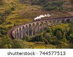 the jacobite steam train... | Shutterstock . vector #744577513