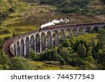 the jacobite steam train... | Shutterstock . vector #744577543