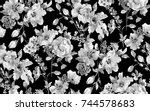 watercolor flower pattern black ... | Shutterstock . vector #744578683