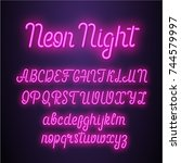 neon lettering font. vector... | Shutterstock .eps vector #744579997