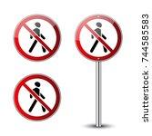 no walking signs set....   Shutterstock .eps vector #744585583