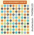 seo development icon set vector | Shutterstock .eps vector #744586123