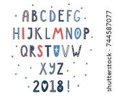 hand drawn latin alphabet in... | Shutterstock .eps vector #744587077