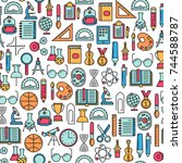 seamless pattern with education ... | Shutterstock .eps vector #744588787