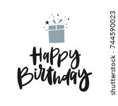 cute print with lettering.... | Shutterstock .eps vector #744590023