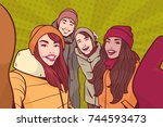 group of young people making... | Shutterstock .eps vector #744593473
