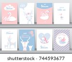set of baby shower invitations... | Shutterstock .eps vector #744593677