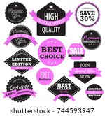 flat design sale badges and... | Shutterstock .eps vector #744593947