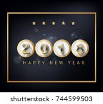 happy new year 2018 greeting... | Shutterstock . vector #744599503