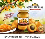 apricot jam ads  delicious... | Shutterstock .eps vector #744602623