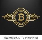 bitcoin  abstract golden symbol ...   Shutterstock .eps vector #744604423