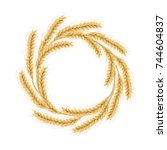 wreath made of wheat. concept... | Shutterstock .eps vector #744604837