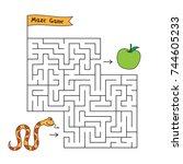 cartoon snake maze game. funny... | Shutterstock .eps vector #744605233