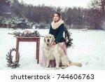 people  animal  season and... | Shutterstock . vector #744606763