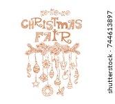 christmas fair  market... | Shutterstock .eps vector #744613897