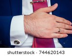 businessman's hand with a clock ... | Shutterstock . vector #744620143