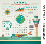 air travel infographic elements ... | Shutterstock .eps vector #744621427