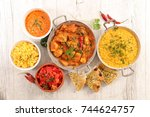 assorted indian curry and dish | Shutterstock . vector #744624757