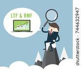 business man sit on top... | Shutterstock .eps vector #744632947