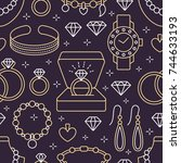jewelry seamless pattern  line... | Shutterstock .eps vector #744633193