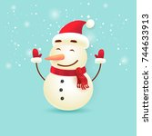 merry christmas and happy new...   Shutterstock .eps vector #744633913
