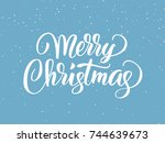 merry christmas hand drawn... | Shutterstock .eps vector #744639673