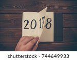 new year 2018 is coming concept....   Shutterstock . vector #744649933