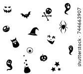 vector illustration black and... | Shutterstock .eps vector #744663907