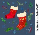 funny red christmas socks.... | Shutterstock .eps vector #744668497