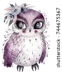 watercolor owl with flowers.... | Shutterstock . vector #744675367