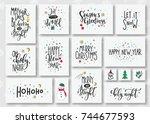 merry christmas tree happy new... | Shutterstock .eps vector #744677593
