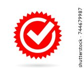 red tick mark icon on white... | Shutterstock .eps vector #744679987