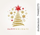 vector christmas greeting card. | Shutterstock .eps vector #744682273