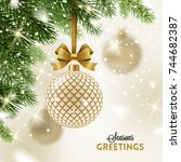 christmas greeting card  ... | Shutterstock .eps vector #744682387