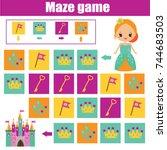 maze children game  help...   Shutterstock .eps vector #744683503