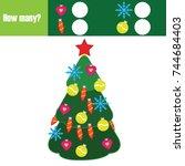 counting educational children... | Shutterstock .eps vector #744684403