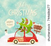 retro car with christmas tree.... | Shutterstock .eps vector #744686677
