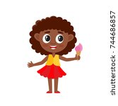 cute afro american girl with...   Shutterstock .eps vector #744686857