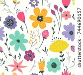 seamless pattern with pastel... | Shutterstock .eps vector #744690157