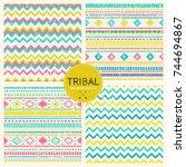 tribal hand drawn background ... | Shutterstock .eps vector #744694867